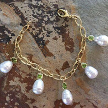 Load image into Gallery viewer, 14KT Yellow Gold Peridot + Paspaley South Sea Pearl Charm Bracelet, 14KT Yellow Gold Peridot + Paspaley South Sea Pearl Charm Bracelet - Legacy Saint Jewelry