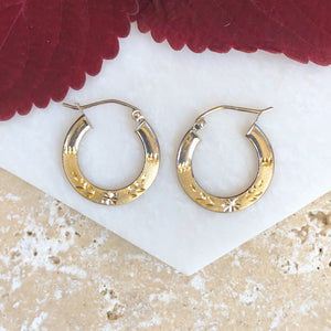 10KT Yellow Gold Diamond-Cut Hoop Earrings, 10KT Yellow Gold Diamond-Cut Hoop Earrings - Legacy Saint Jewelry