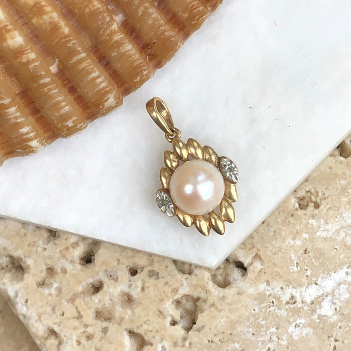 Estate 14KT Yellow Gold Cultured Pearl + Pave Diamond Teardrop Pendant