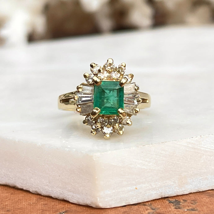Estate 14KT Yellow Gold .85 CT Emerald-Cut Emerald + Baguette Diamond Ballerina Ring