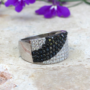 Sterling Silver Black + White CZ Cigar Band Ring Size 8, Sterling Silver Black + White CZ Cigar Band Ring Size 8 - Legacy Saint Jewelry