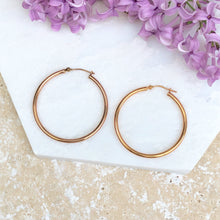 Load image into Gallery viewer, 14KT Rose Gold Shiny Finish Hoop Earrings, 14KT Rose Gold Shiny Finish Hoop Earrings - Legacy Saint Jewelry