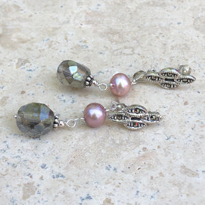 Sterling Silver Freshwater Cultured Cream Pearl + Glass Dangle Earrings, Sterling Silver Freshwater Cultured Cream Pearl + Glass Dangle Earrings - Legacy Saint Jewelry