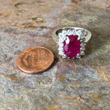 Load image into Gallery viewer, 14KT White Gold Ruby + Diamond Ring, 14KT White Gold Ruby + Diamond Ring - Legacy Saint Jewelry