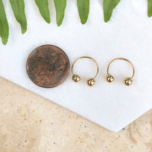 Load image into Gallery viewer, 14KT Yellow Gold Shiny Ball Half Hoop Earrings, 14KT Yellow Gold Shiny Ball Half Hoop Earrings - Legacy Saint Jewelry