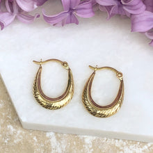 Load image into Gallery viewer, 10KT Yellow Gold Small Oval + Ribbed Hoop Earrings, 10KT Yellow Gold Small Oval + Ribbed Hoop Earrings - Legacy Saint Jewelry