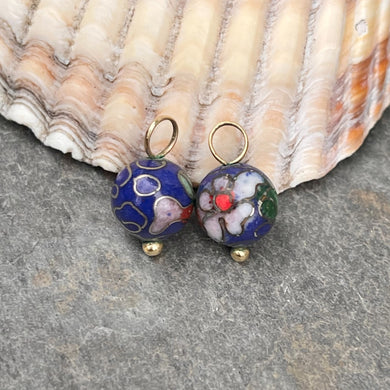 Estate 14KT Yellow Gold Blue Cloisonne Ball Earring Charms 8mm