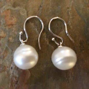 14KT White Gold + 12mm Genuine Paspaley South Sea Pearl Shepard Hook Earrings, 14KT White Gold + 12mm Genuine Paspaley South Sea Pearl Shepard Hook Earrings - Legacy Saint Jewelry