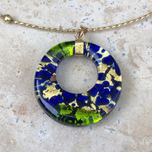 Load image into Gallery viewer, 10KT Yellow Gold Murano Multi-Tone Glass Circle Cable Wire Necklace, 10KT Yellow Gold Murano Multi-Tone Glass Circle Cable Wire Necklace - Legacy Saint Jewelry