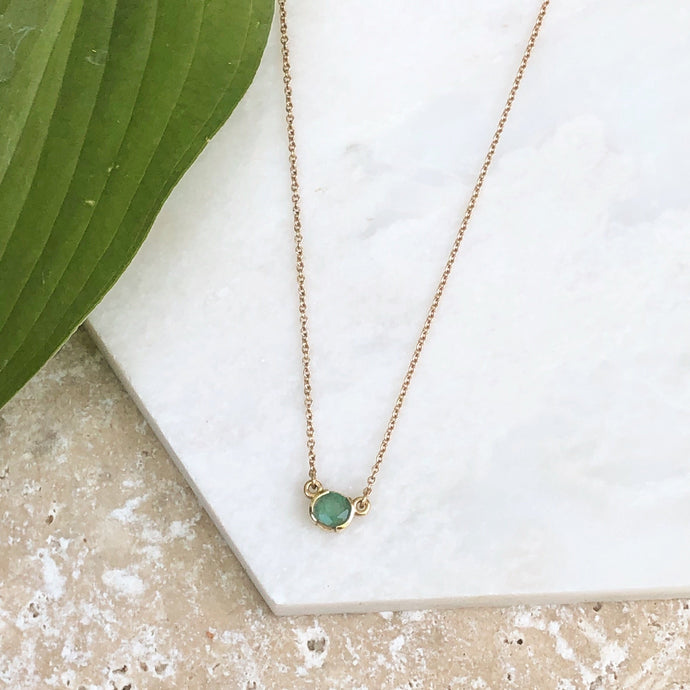 14KT Rose Gold Half Bezel Set Round Emerald Necklace, 14KT Rose Gold Half Bezel Set Round Emerald Necklace - Legacy Saint Jewelry