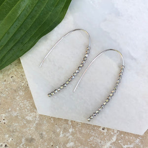 Sterling Silver Threader Beaded Ear Wire Earrings, Sterling Silver Threader Beaded Ear Wire Earrings - Legacy Saint Jewelry