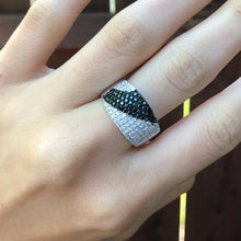 Load image into Gallery viewer, Sterling Silver Black + White CZ Cigar Band Ring Size 8, Sterling Silver Black + White CZ Cigar Band Ring Size 8 - Legacy Saint Jewelry