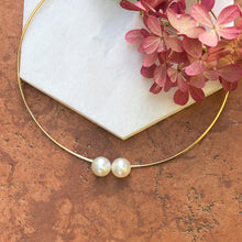 Load image into Gallery viewer, 14KT Yellow Gold + Paspaley Pearl Neck Wire Collar Necklace, 14KT Yellow Gold + Paspaley Pearl Neck Wire Collar Necklace - Legacy Saint Jewelry