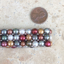 Load image into Gallery viewer, Sterling Silver Multi-Colored Freshwater Pearl Triple Strand Bracelet, Sterling Silver Multi-Colored Freshwater Pearl Triple Strand Bracelet - Legacy Saint Jewelry