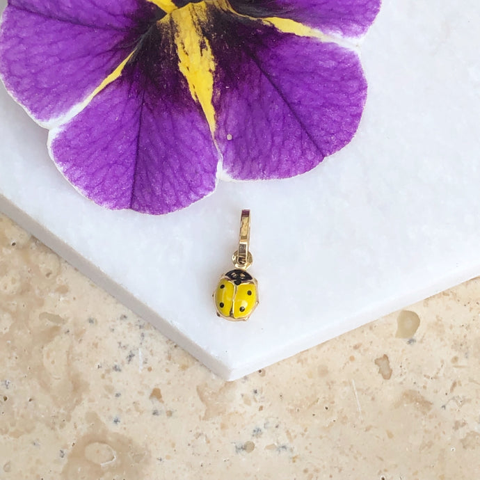 14KT Yellow Gold Yellow Mini Ladybug Pendant Charm, 14KT Yellow Gold Yellow Mini Ladybug Pendant Charm - Legacy Saint Jewelry
