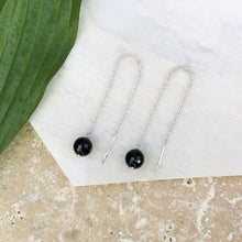 Load image into Gallery viewer, Sterling Silver Threader Black Onyx Ear Wire Earrings, Sterling Silver Threader Black Onyx Ear Wire Earrings - Legacy Saint Jewelry