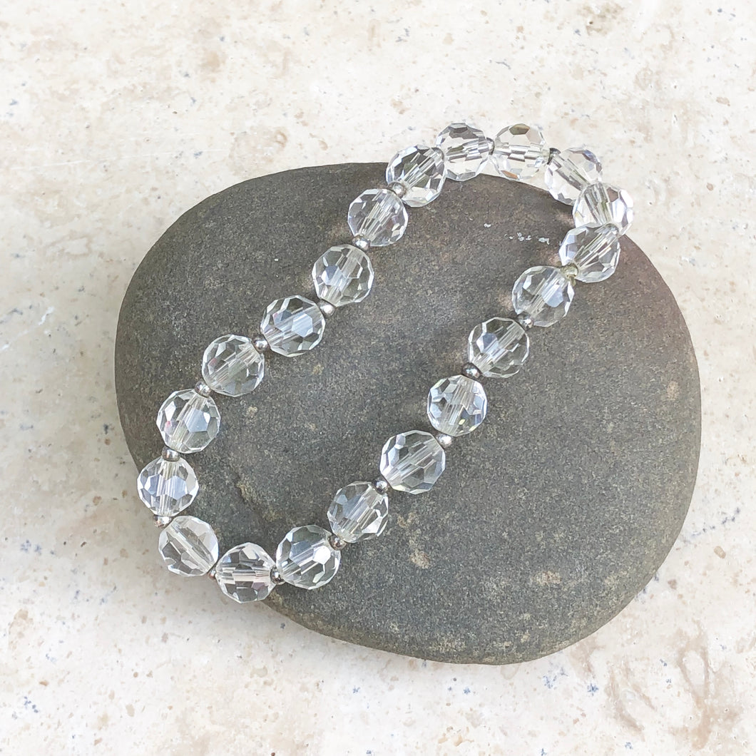 Polished Faceted Clear Crystal Stretch Bracelet, Polished Faceted Clear Crystal Stretch Bracelet - Legacy Saint Jewelry