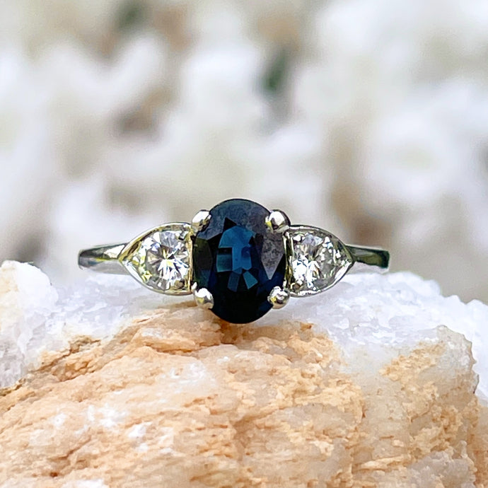 Estate 14KT White Gold Oval 1.20 CT Blue Sapphire + Diamond Accent Ring
