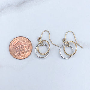 10KT Yellow Gold + White Gold Double Circle Earrings, 10KT Yellow Gold + White Gold Double Circle Earrings - Legacy Saint Jewelry