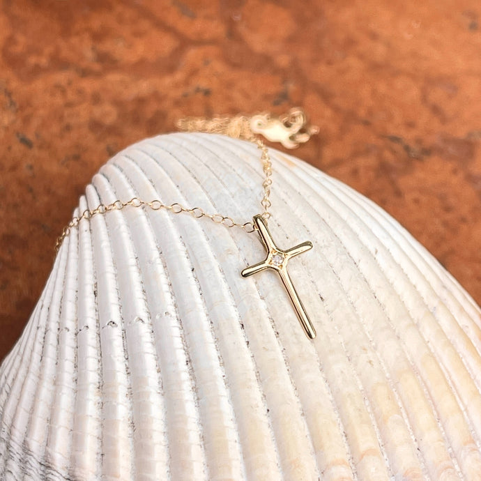 14KT Yellow Gold .01 CT Diamond Mini Cross Necklace 15