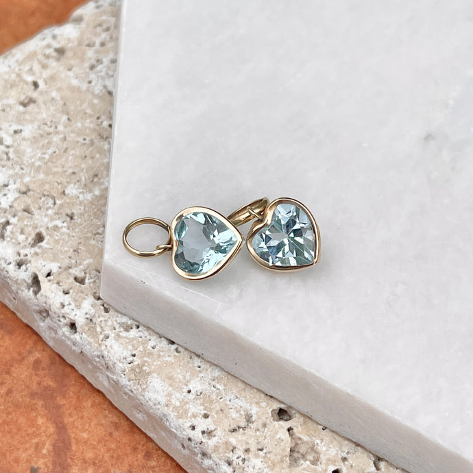Estate 14KT Yellow Gold Blue Topaz Heart Earring Charms