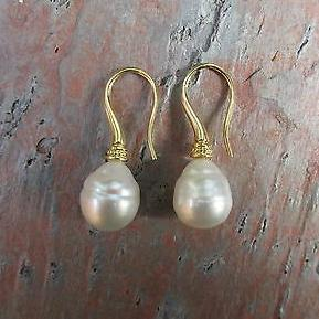 18KT Yellow Gold Paspaley Pearl Shepard Hook Earrings, 18KT Yellow Gold Paspaley Pearl Shepard Hook Earrings - Legacy Saint Jewelry
