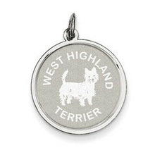 Load image into Gallery viewer, Sterling Silver West Highland Terrier Pendant Charm Satin Disc, Sterling Silver West Highland Terrier Pendant Charm Satin Disc - Legacy Saint Jewelry