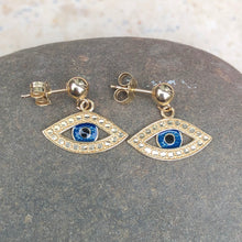 Load image into Gallery viewer, 14KT Yellow Gold Evil Eye Earrings, 14KT Yellow Gold Evil Eye Earrings - Legacy Saint Jewelry