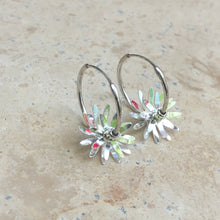Load image into Gallery viewer, Sterling Silver Polished Flower Hoop Earrings, Sterling Silver Polished Flower Hoop Earrings - Legacy Saint Jewelry
