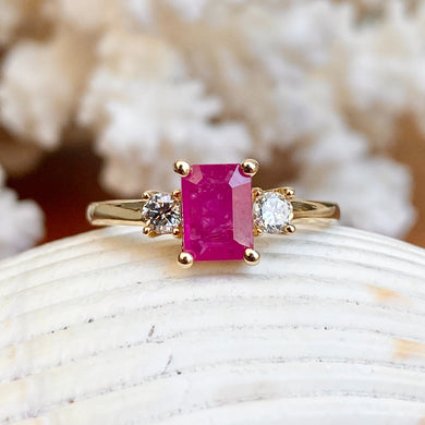 Estate 14KT Yellow Gold Emerald-Cut Pink 1.20 CT Ruby + Diamond Accent Ring