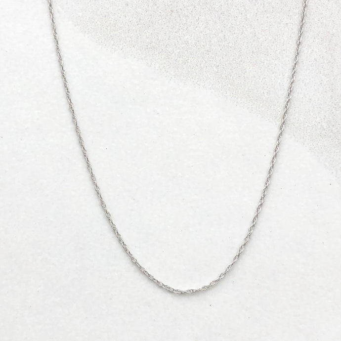 14KT White Gold Cable Rope Chain Necklace .5mm, 14KT White Gold Cable Rope Chain Necklace .5mm - Legacy Saint Jewelry