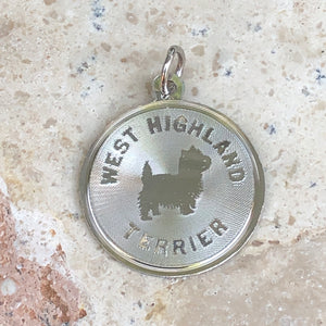 Sterling Silver West Highland Terrier Pendant Charm Satin Disc, Sterling Silver West Highland Terrier Pendant Charm Satin Disc - Legacy Saint Jewelry