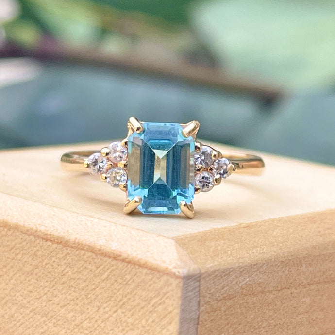 Estate 14KT Yellow Gold Emerald-Cut Blue Topaz + Diamond Accent Ring