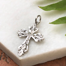 Load image into Gallery viewer, 10KT White Gold Diamond-Cut Detailed Cross Charm Pendant, 10KT White Gold Diamond-Cut Detailed Cross Charm Pendant - Legacy Saint Jewelry