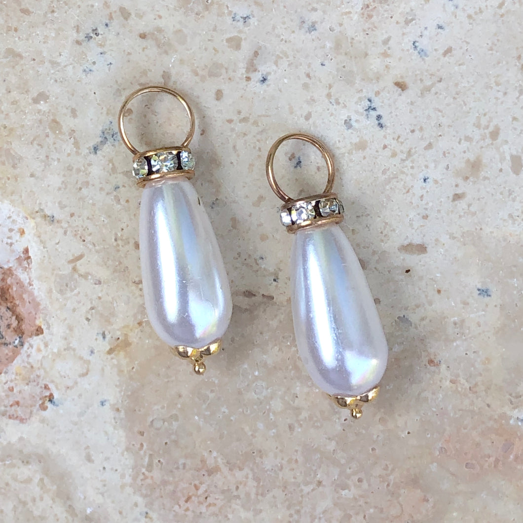 14KT Yellow Gold Pearl + CZ Stone Earring Charms, 14KT Yellow Gold Pearl + CZ Stone Earring Charms - Legacy Saint Jewelry