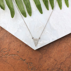 14KT White Gold Diamond Triangle Necklace, 14KT White Gold Diamond Triangle Necklace - Legacy Saint Jewelry