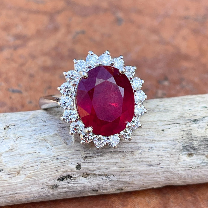 Estate 14KT White Gold Oval 5.00 CT Ruby + Diamond Halo Ring