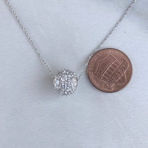 Sterling Silver CZ Pave Set Ball Slide Pendant, Sterling Silver CZ Pave Set Ball Slide Pendant - Legacy Saint Jewelry