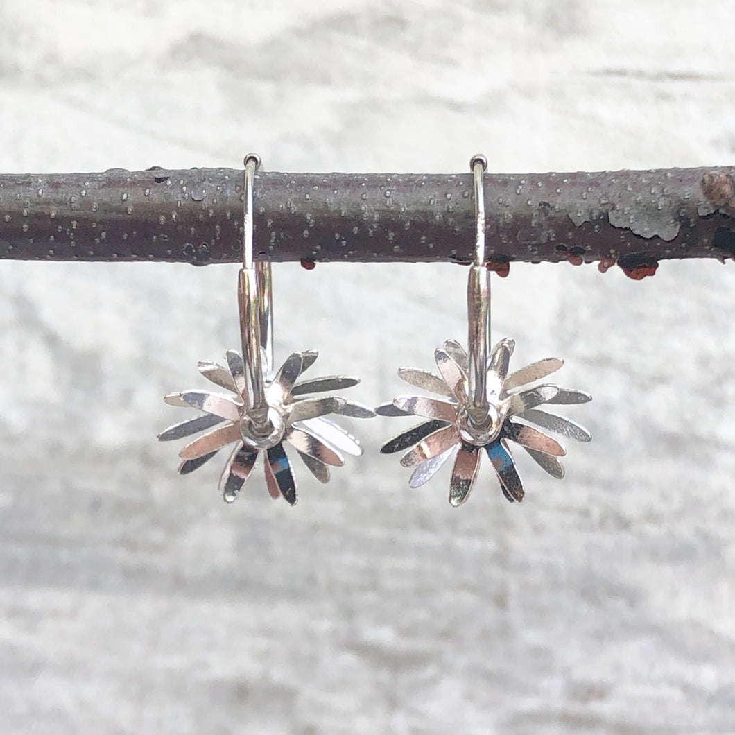 Sterling Silver Polished Flower Hoop Earrings, Sterling Silver Polished Flower Hoop Earrings - Legacy Saint Jewelry