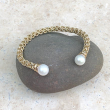 Load image into Gallery viewer, Estate 14KT Yellow Gold Basketweave Pearls Cuff Bangle Bracelet, Estate 14KT Yellow Gold Basketweave Pearls Cuff Bangle Bracelet - Legacy Saint Jewelry