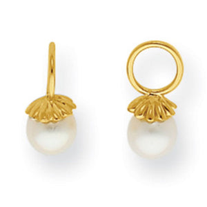 14KT Yellow Gold Freshwater Pearl Earring Charms 6.5mm, 14KT Yellow Gold Freshwater Pearl Earring Charms 6.5mm - Legacy Saint Jewelry