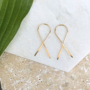 14KT Yellow Gold Filled Threader Ribbon Ear Wire Earrings, 14KT Yellow Gold Filled Threader Ribbon Ear Wire Earrings - Legacy Saint Jewelry