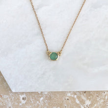 Load image into Gallery viewer, 14KT Rose Gold Half Bezel Set Round Emerald Necklace, 14KT Rose Gold Half Bezel Set Round Emerald Necklace - Legacy Saint Jewelry