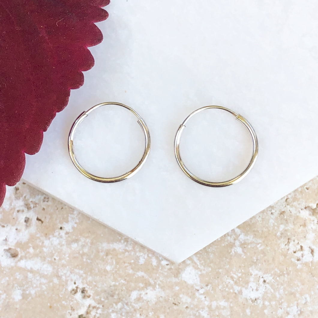 14KT White Gold Thin Endless Hoop Earrings 12mm, 14KT White Gold Thin Endless Hoop Earrings 12mm - Legacy Saint Jewelry