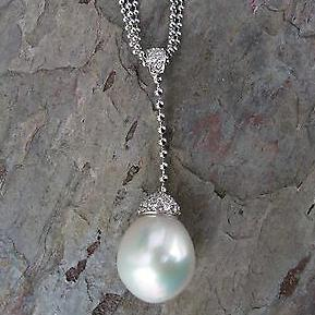 14KT White Gold Paspaley Pearl + Pave Diamond Lariat Beaded Chain Necklace, 14KT White Gold Paspaley Pearl + Pave Diamond Lariat Beaded Chain Necklace - Legacy Saint Jewelry