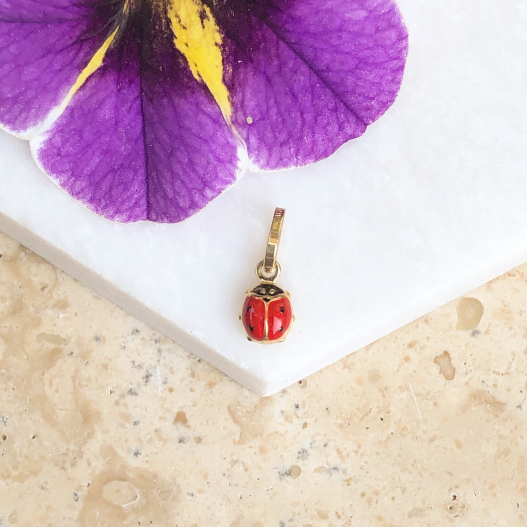 14KT Yellow Gold Red Mini Ladybug Pendant Charm, 14KT Yellow Gold Red Mini Ladybug Pendant Charm - Legacy Saint Jewelry