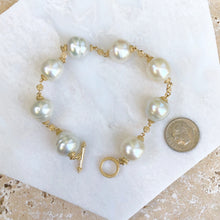 "Load image into Gallery viewer, 14KT Yellow Gold + Paspaley South Sea Pearl Spacers Bracelet 8"", 14KT Yellow Gold + Paspaley South Sea Pearl Spacers Bracelet 8"" - Legacy Saint Jewelry"