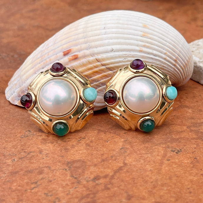 Estate 14KT Yellow Gold White Mabe Pearl + Cabochon Gemstone Omega Back Clip On Earrings