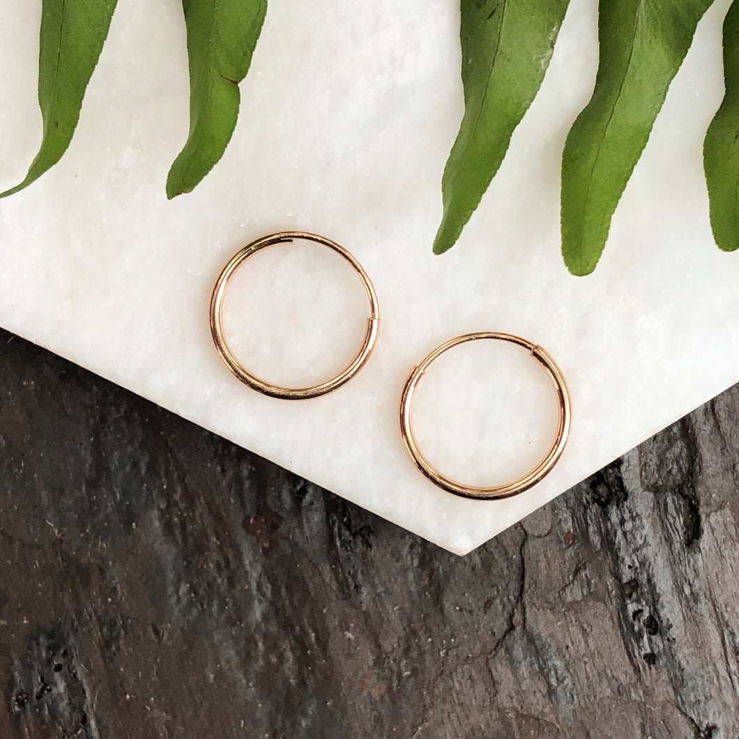 14KT Rose Gold Thin 1.5mm Endless Hoop Earrings 14mm, 14KT Rose Gold Thin 1.5mm Endless Hoop Earrings 14mm - Legacy Saint Jewelry