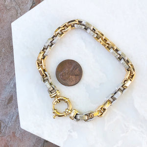 Estate 14KT Yellow Gold + White Gold Shiny Rounded Rolo Link Toggle Bracelet, Estate 14KT Yellow Gold + White Gold Shiny Rounded Rolo Link Toggle Bracelet - Legacy Saint Jewelry